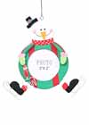 "Skating Snowman Ornament 2"" x 2"" Photo Frame Green and Red"
