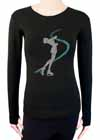 Layback Skater Blue Rhinestones Longsleeve Black Shirt Child L